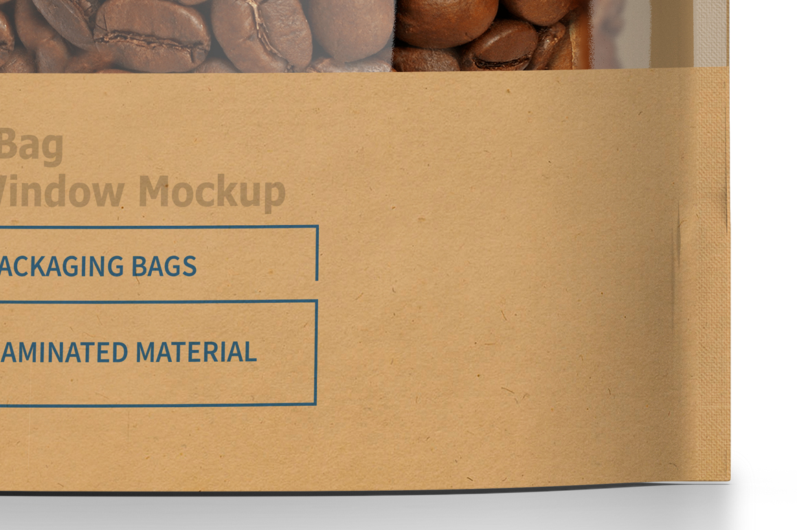 Kraft Paper Bag Stand up Pouch Doypack with Clear Window Mockup example image 7