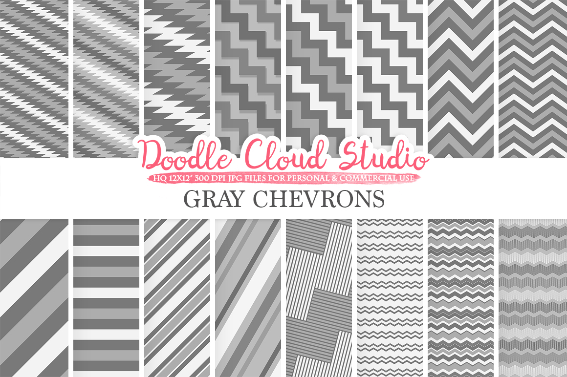 Gray Chevron digital paper, Chevron and Stripes Grey pattern, Zig Zag lines background, Instant Download for Personal & Commercial Use example image 1