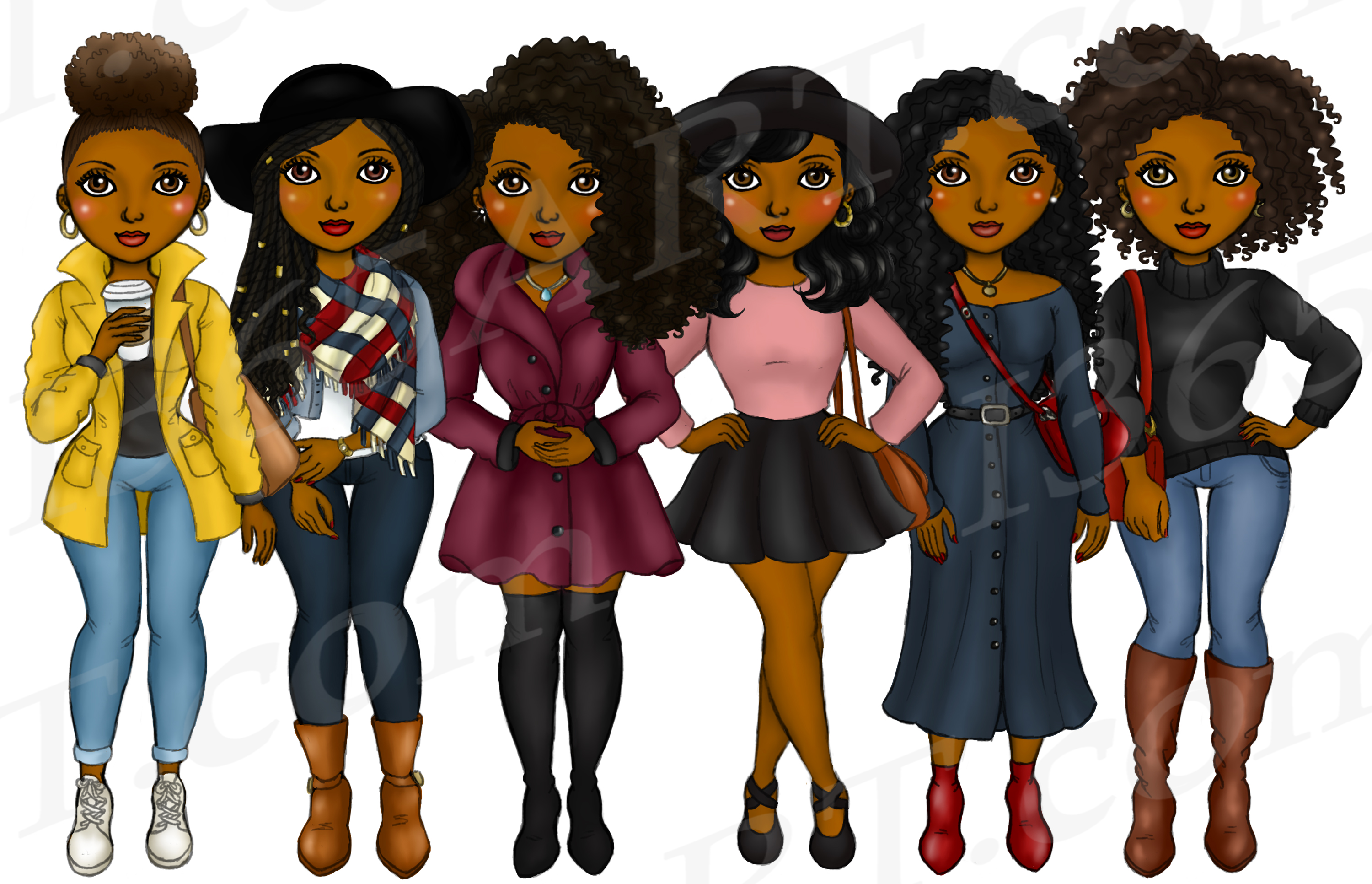 Fall Fashion Autumn Girls Natural Hair Planner Clipart Set example image 2