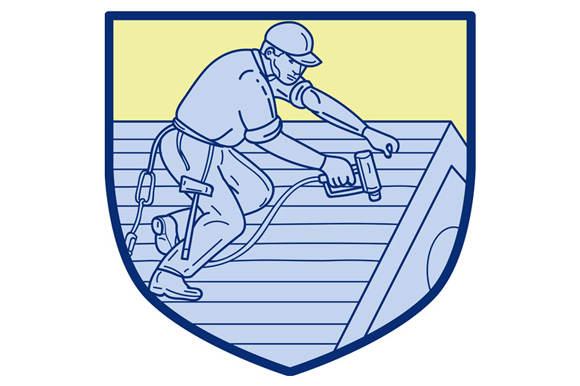 Roofer Working On Roof Shield Mono Line example image 1