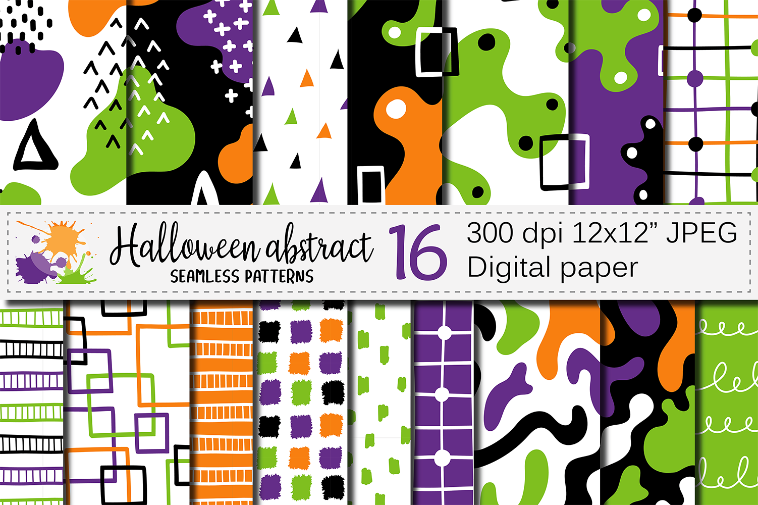 Halloween abstract seamless digital papers / patterns example image 1