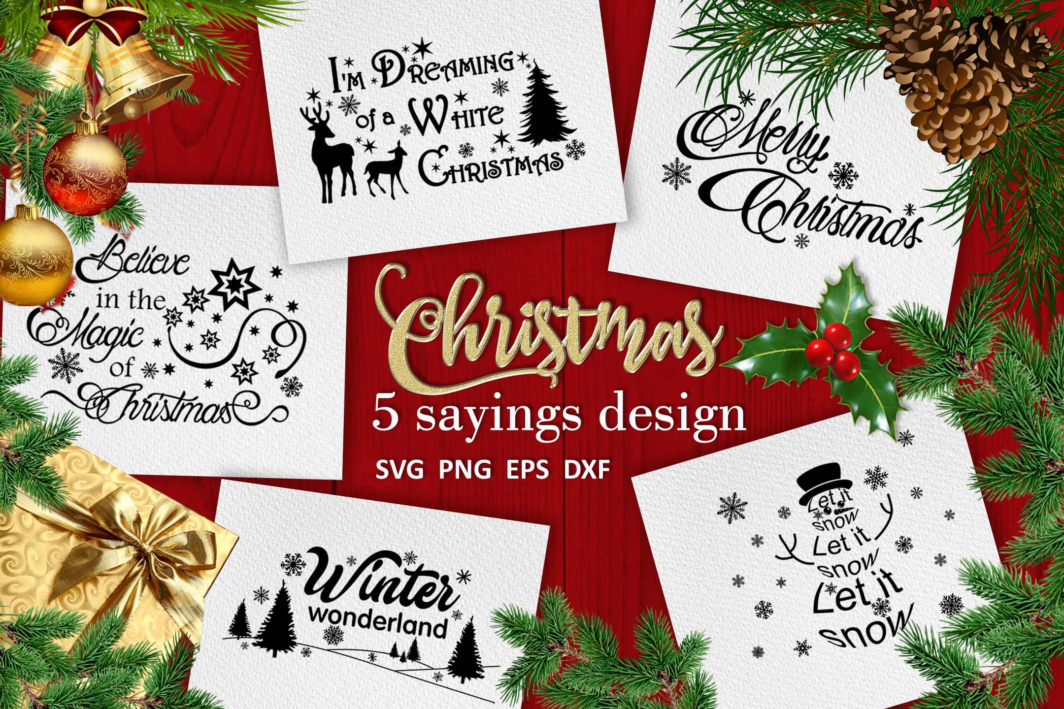 Christmas bundle svg Christmas sayings svg Winter svg example image 1