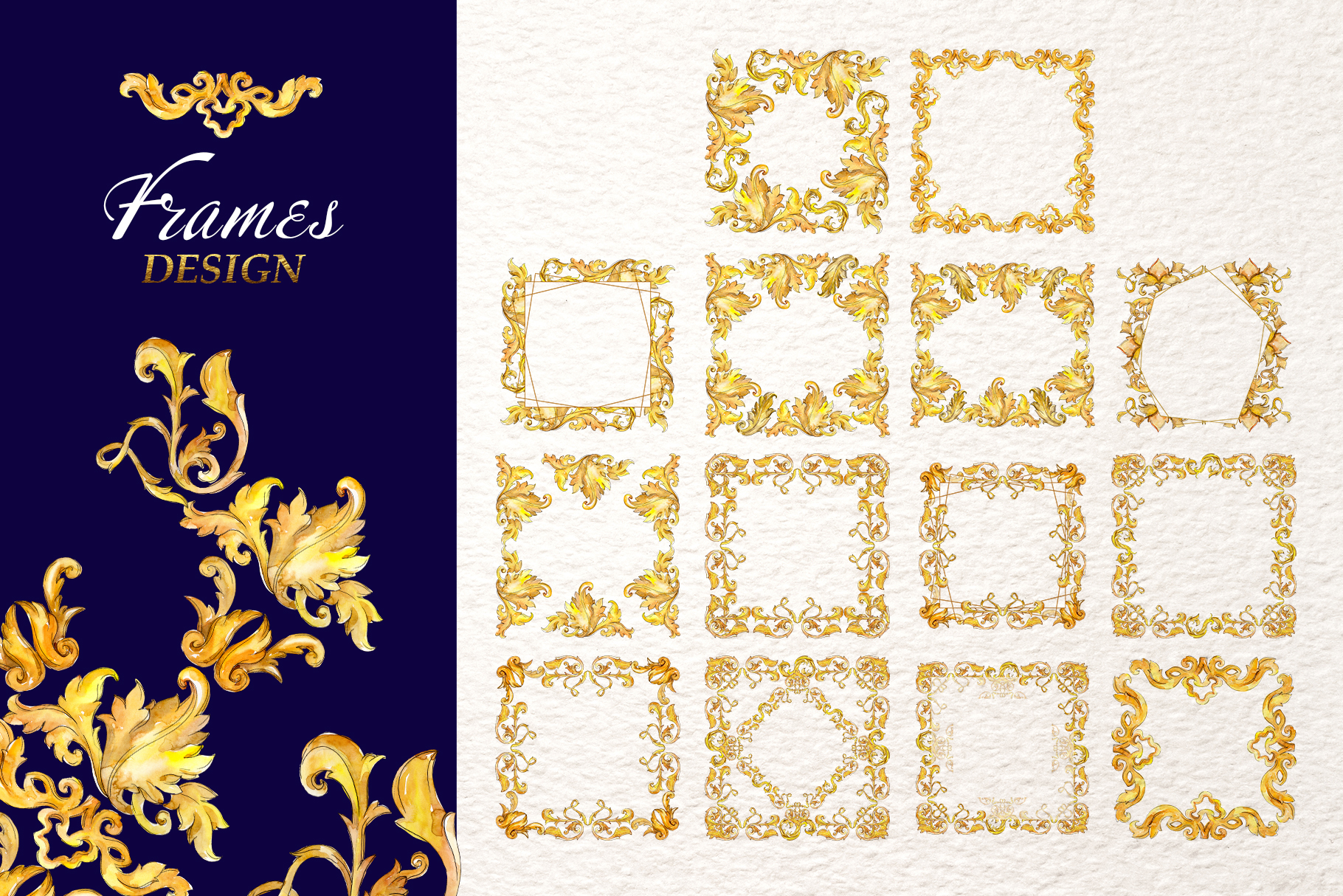 Luxury gold monograms. Fashion prints Watercolor png example image 6