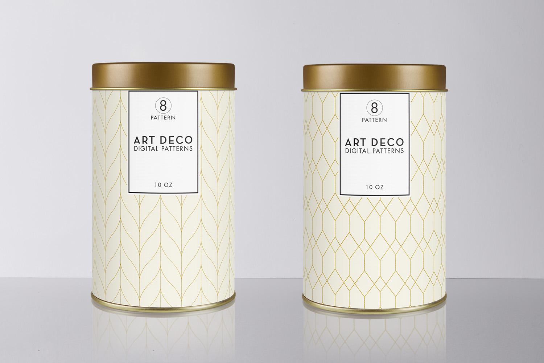 8 Seamless Art Deco Patterns - Ivory & Gold Set 1 example image 3