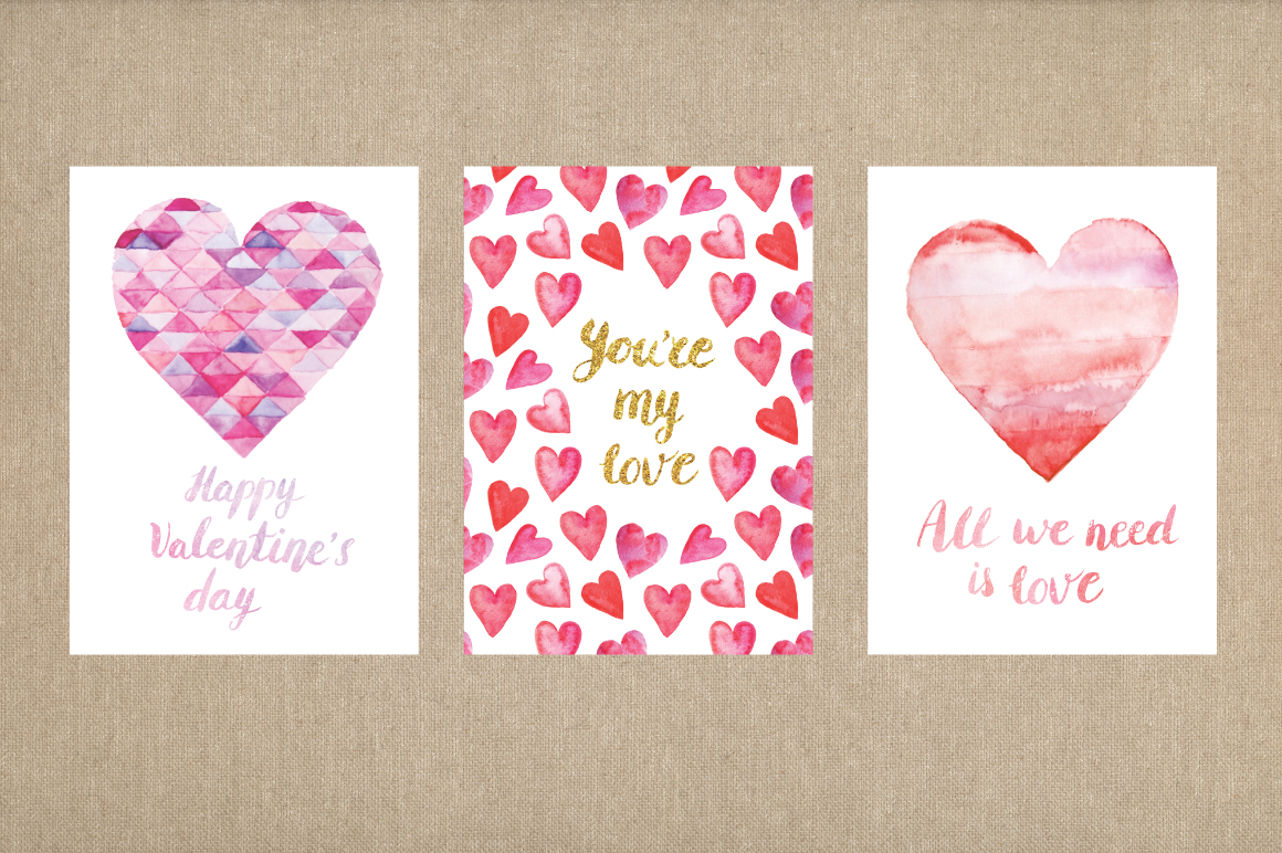 Watercolor Valentine's Day BUNDLE example image 15