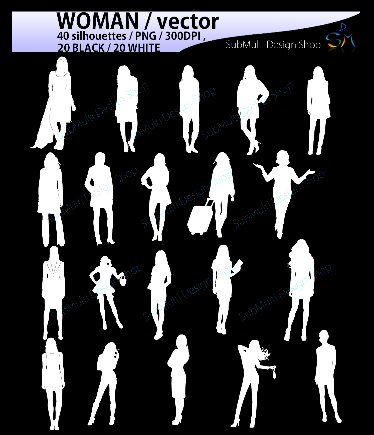 women silhouette / women svg / women clipart / printable women silhouette / standing women / 300dpi / PNG / EPS / SVG /black and white example image 3