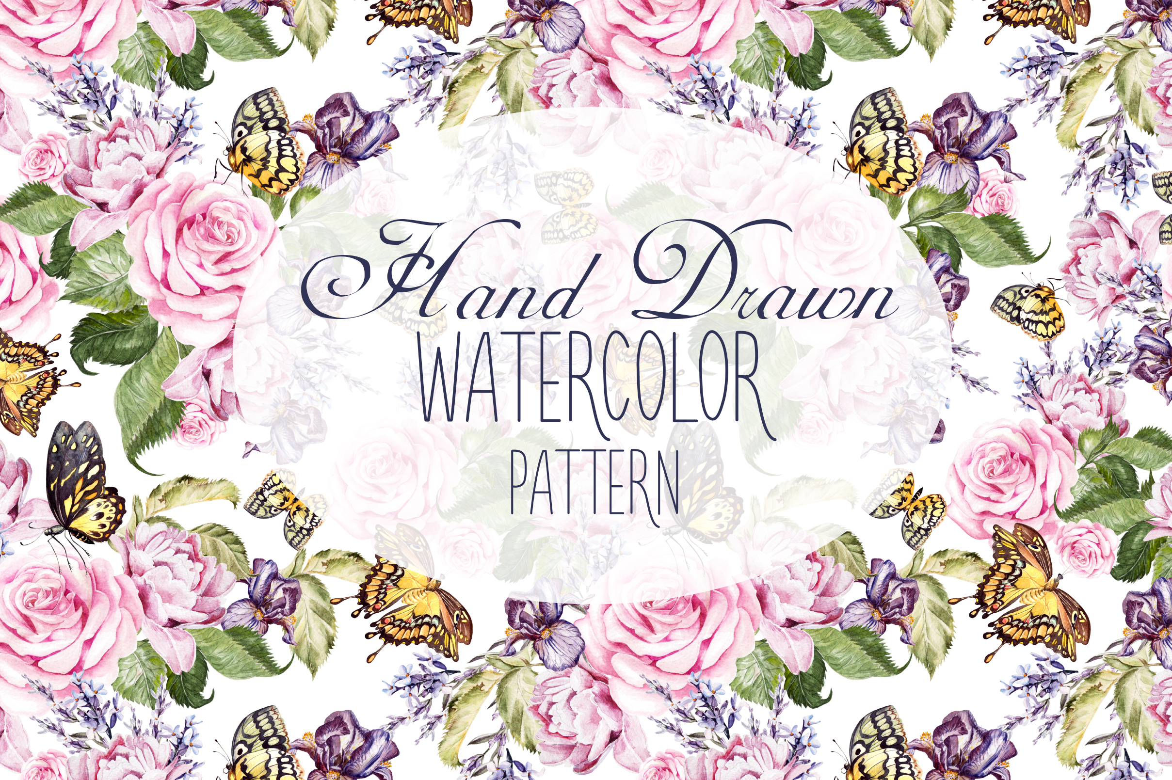 14 Hand drawn watercolor patterns example image 1