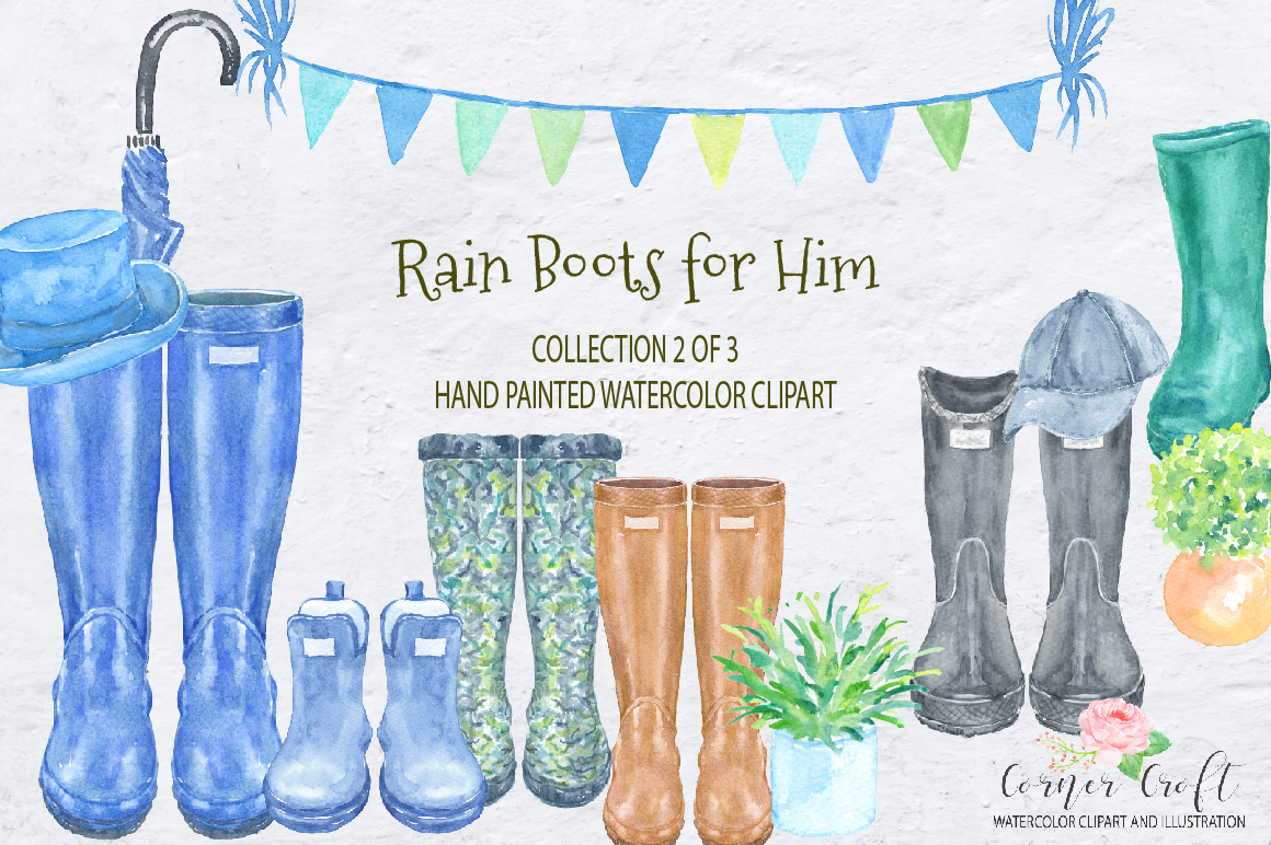 Watercolor Rain Boots for Him example image 2