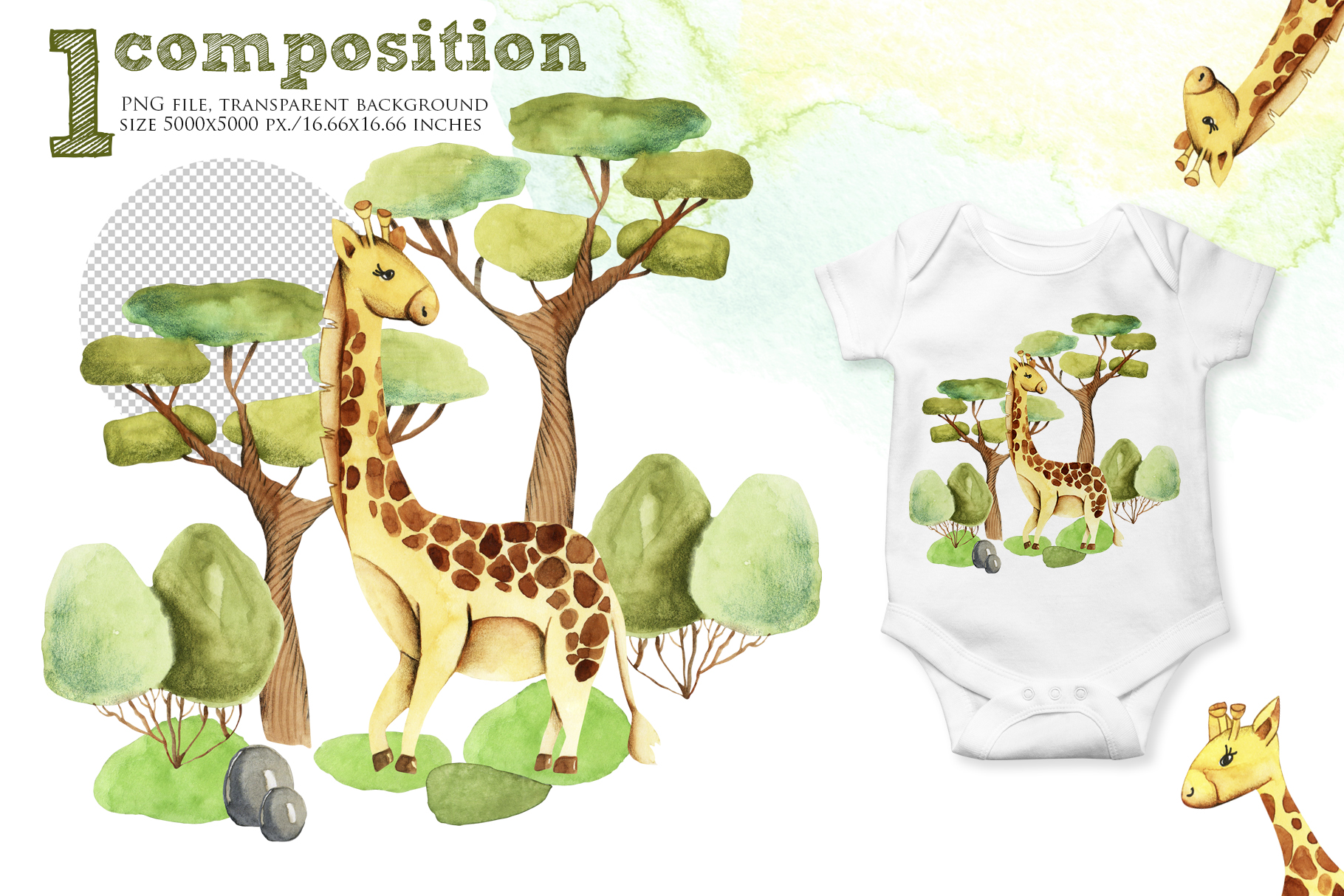 Giraffes. Watercolor clipart. example image 4
