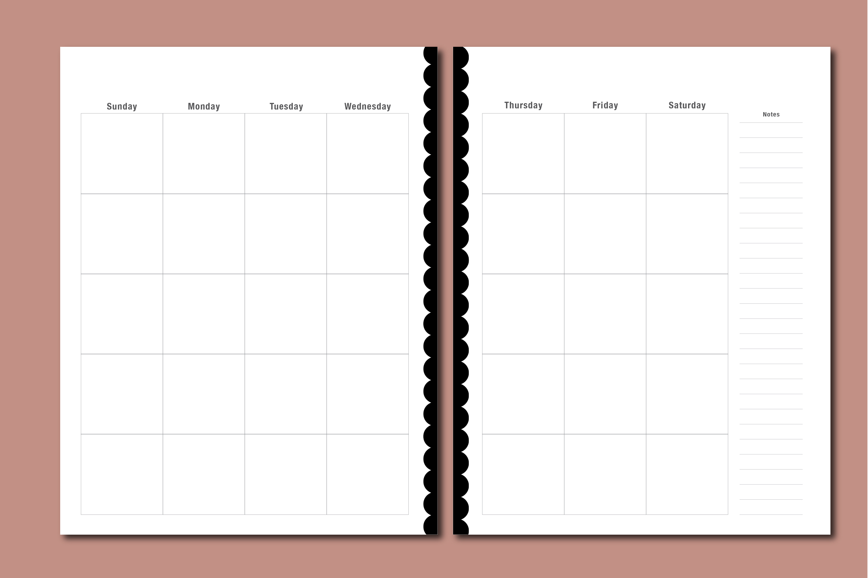Planner Printable - Vertical Day Column Weekly agenda example image 3