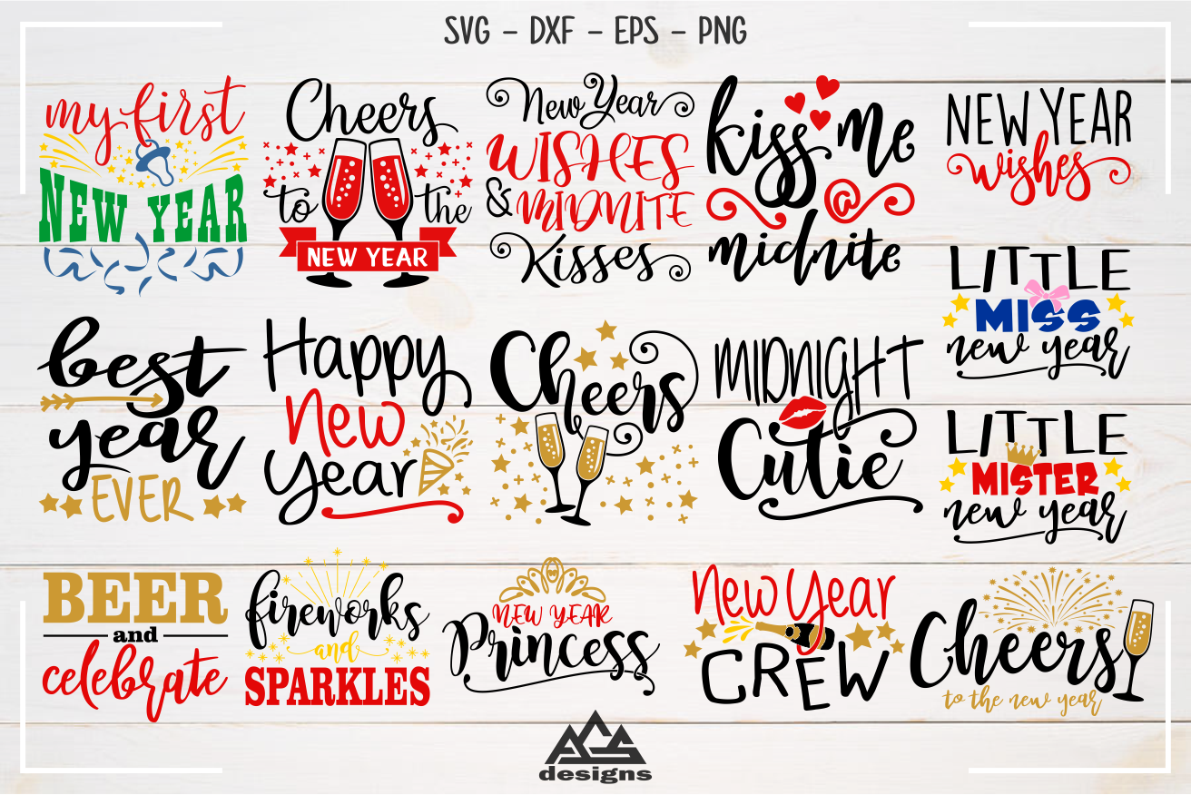 New Year Quotes Bundle Svg Design example image 2