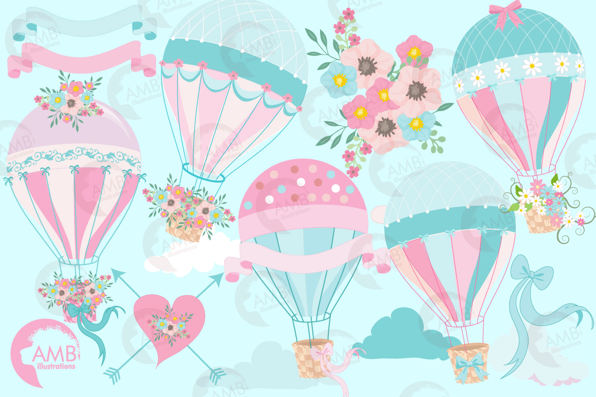 Hot Air Balloons, graphic, illustration, clipart AMB-1388  example image 5