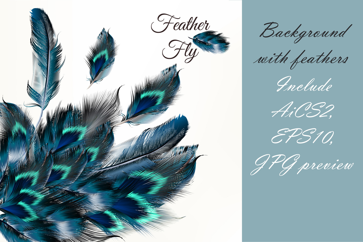 Colorful feather bundle. Vector illustrations and elements example image 2