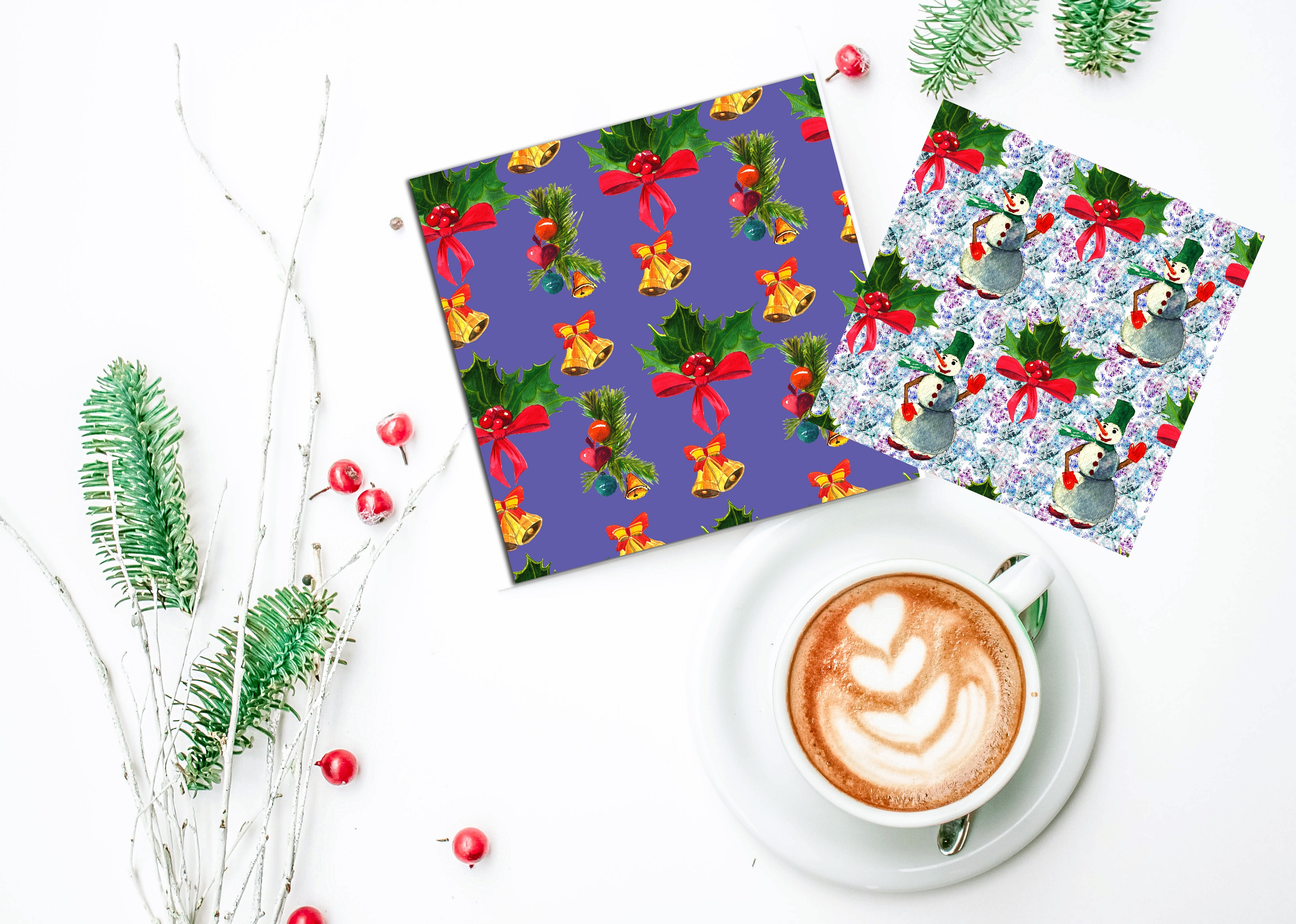 Watercolor Christmas patterns. example image 4