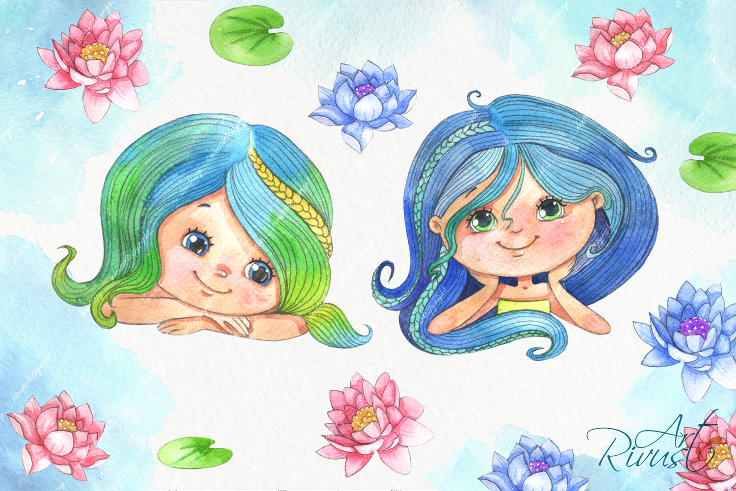Cute mermaids clipart pack. Watercolor clip art baby shower example image 5
