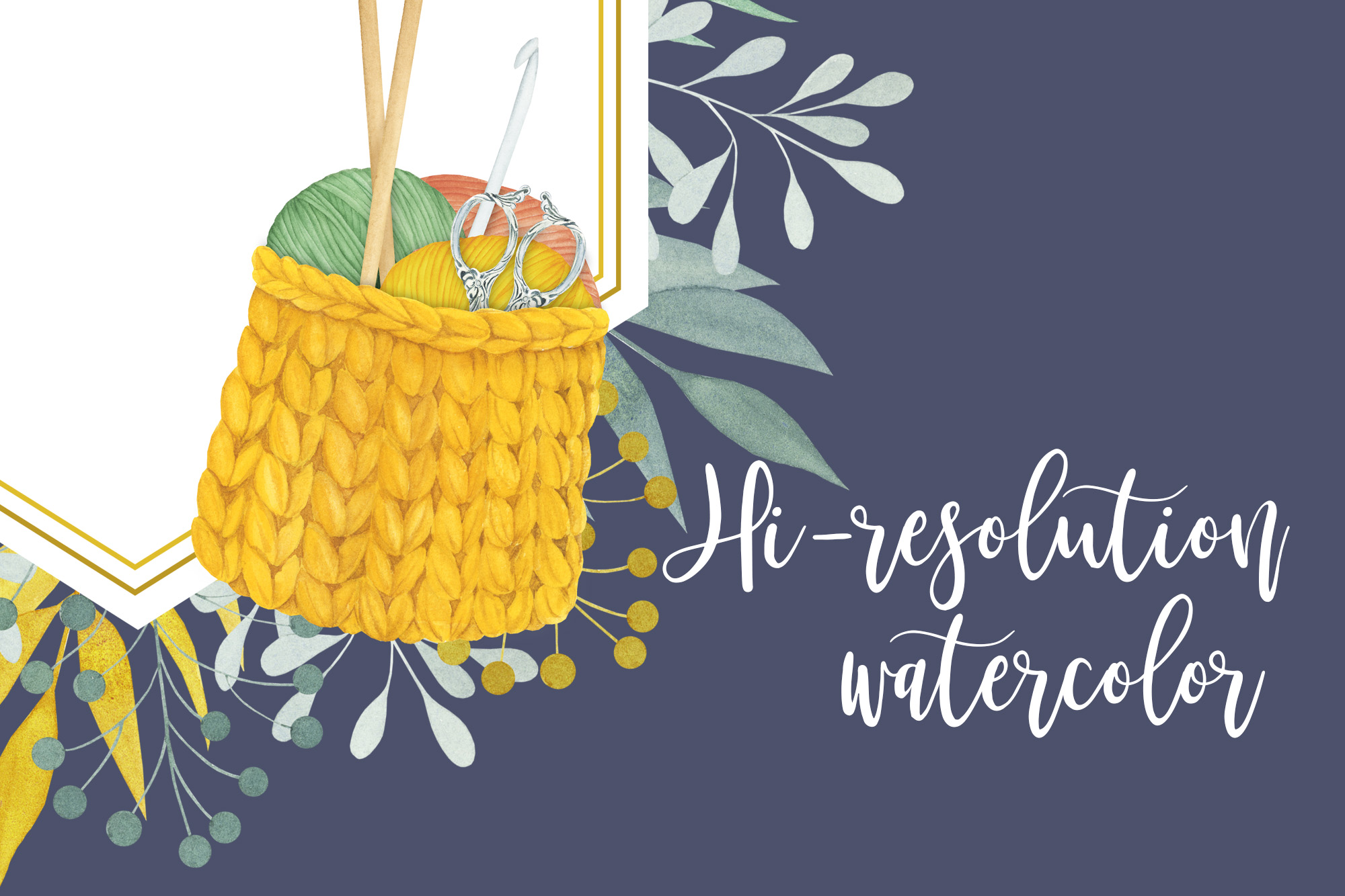 Watercolor Knitting and Crochet Clipart example image 7