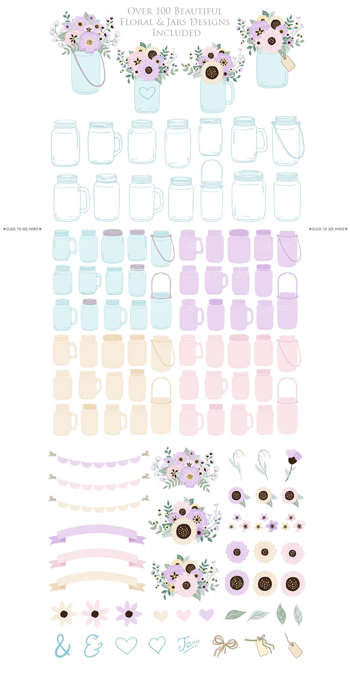 Lilac Mason Jar Floral Light Purple Wedding Clipart example image 2