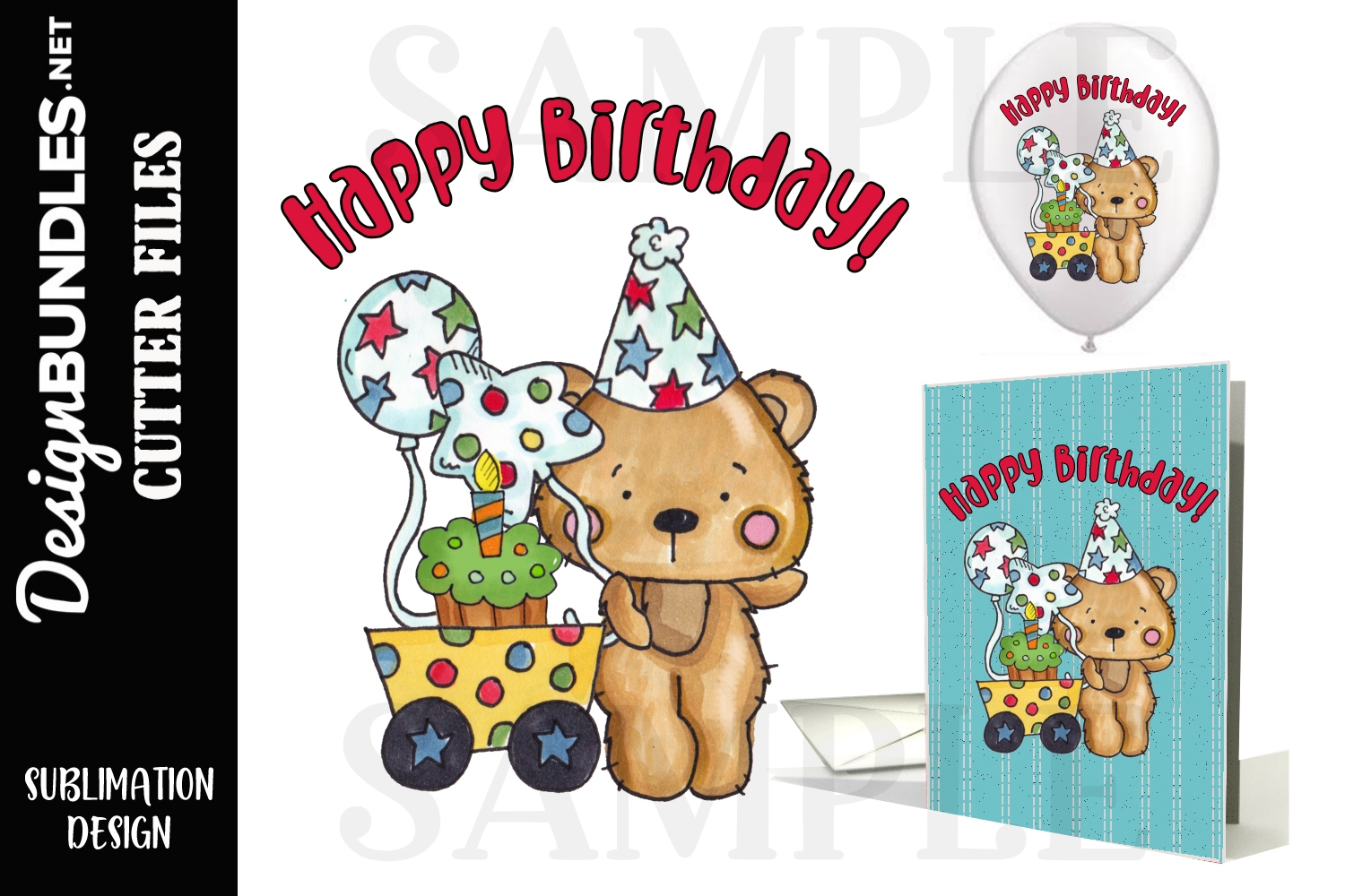 Happy Birthday Bear Sublimation Design example image 1