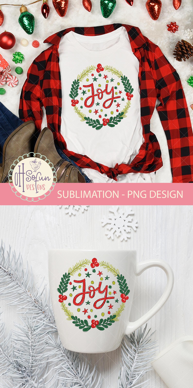 Joy christmas sublimation, christmas wreath doodle example image 4