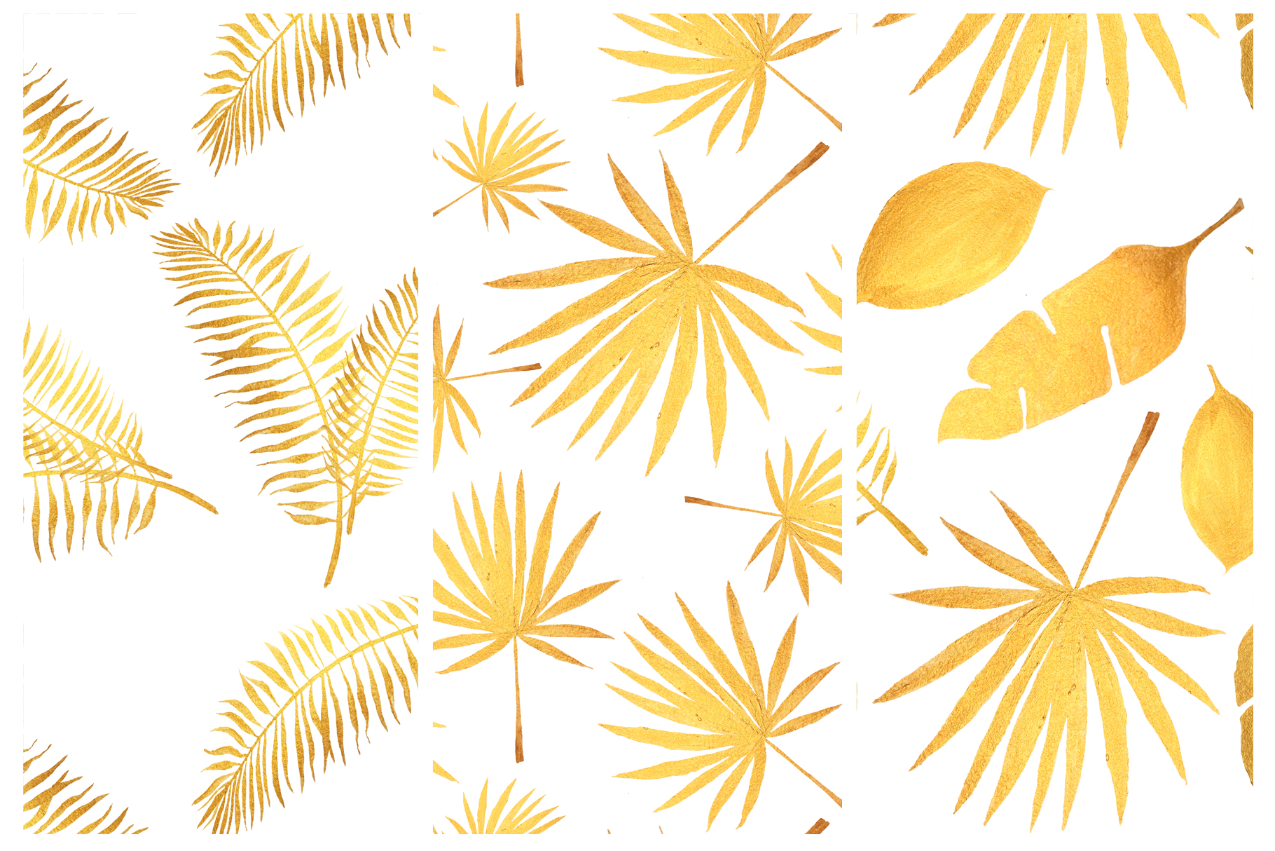 Golden tropical leaves & pattern example image 4
