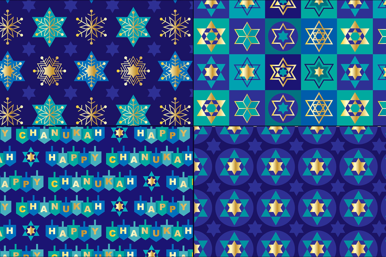 Blue Gold Hanukkah Patterns example image 4
