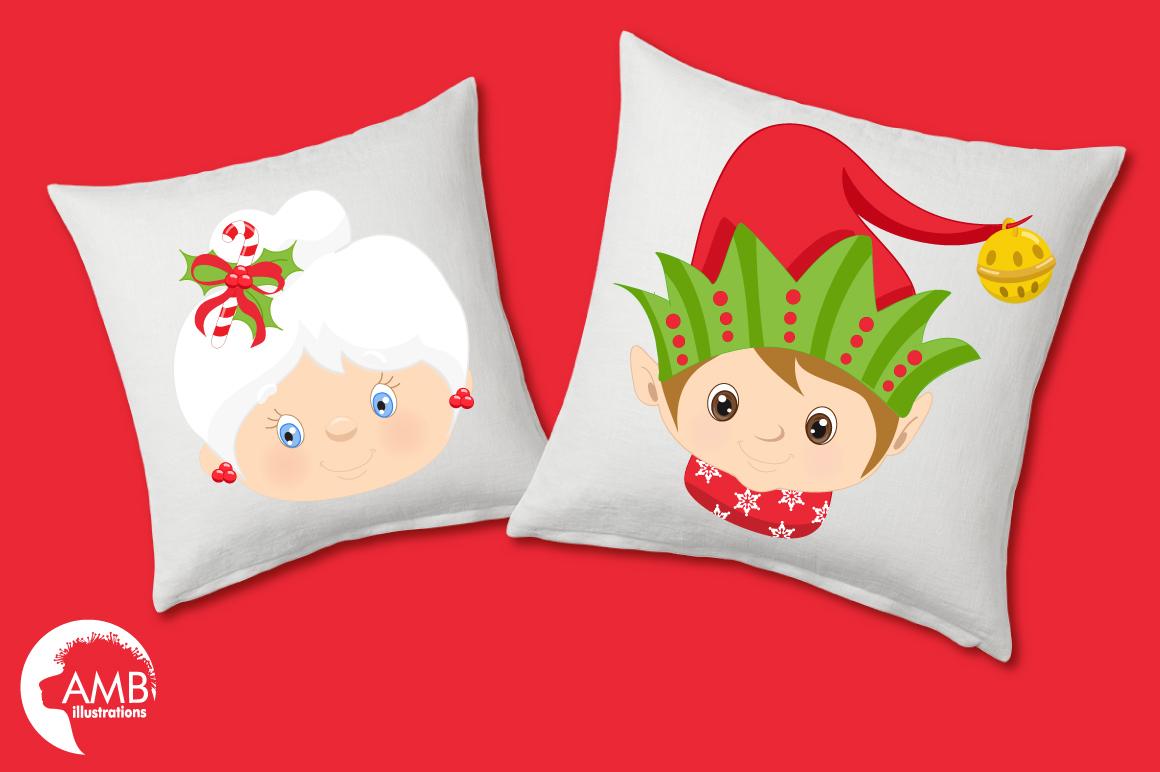 Santa, Mama Claus, elves, snowmen faces  clipart, graphics, illustrations AMB-191 example image 3