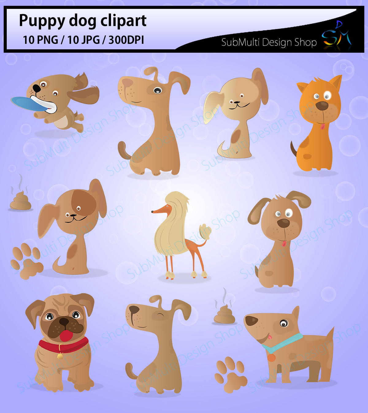 puppy dog clipart / Digital Clip Art for Scrapbooking Card Making Cupcake Toppers Paper Crafts / doodle dogs / puppy doodles / cute dogs example image 2