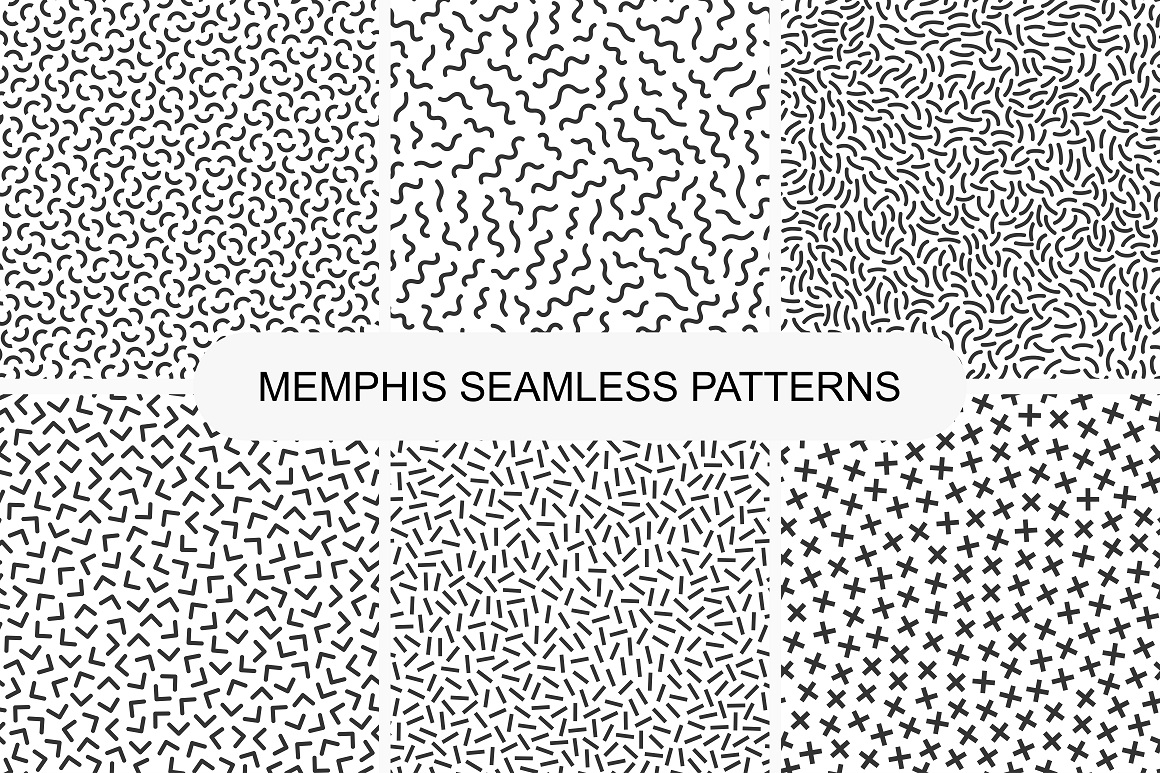 Set of seamless memphis patterns example image 5