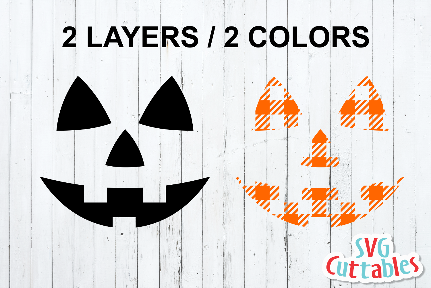 Plaid Pumpkin Face | Halloween SVG Cut File example image 2