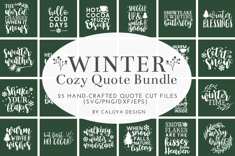 Winter Quote Cut File Bundle example image 1