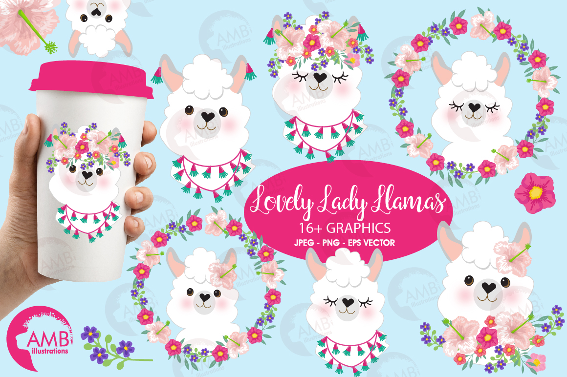 Llama Ladies clipart, graphics, illustrations, AMB-2102 example image 1