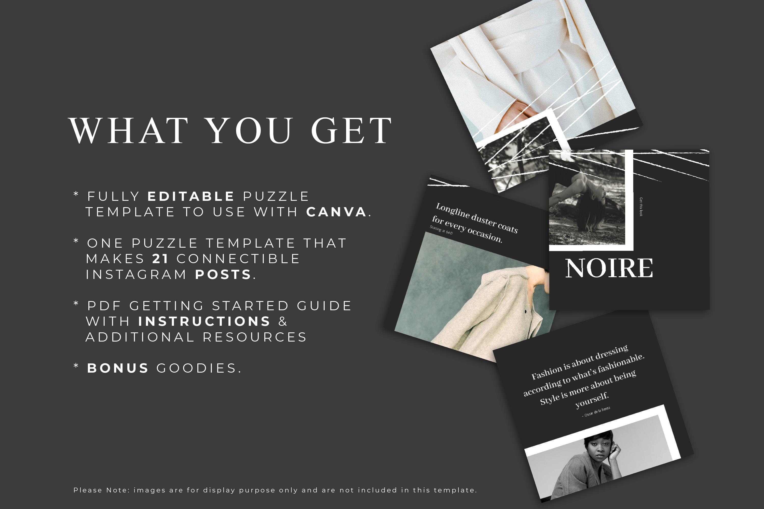 Instagram Puzzle Canva Template - Noire example image 3
