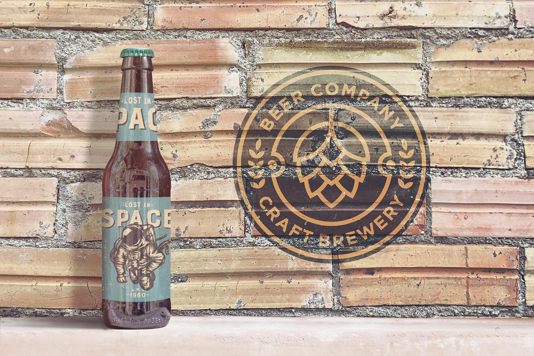Brick Backgrounds Beer Mockup example image 4