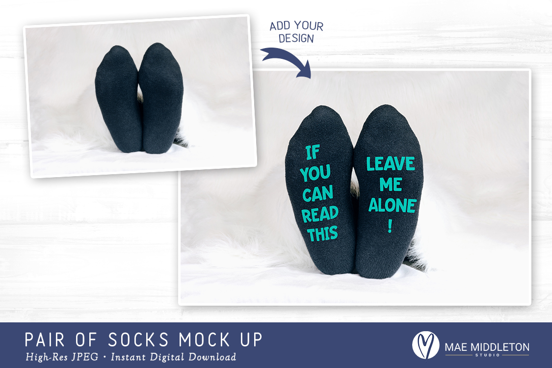 Pair of Socks Mock up for crafters, styled photo example image 2