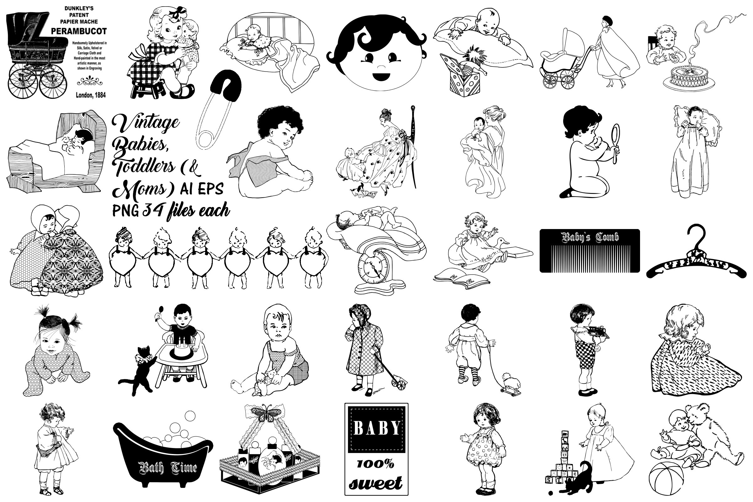 Vintage Babies, Toddles & Moms AI EPS PNG example image 1