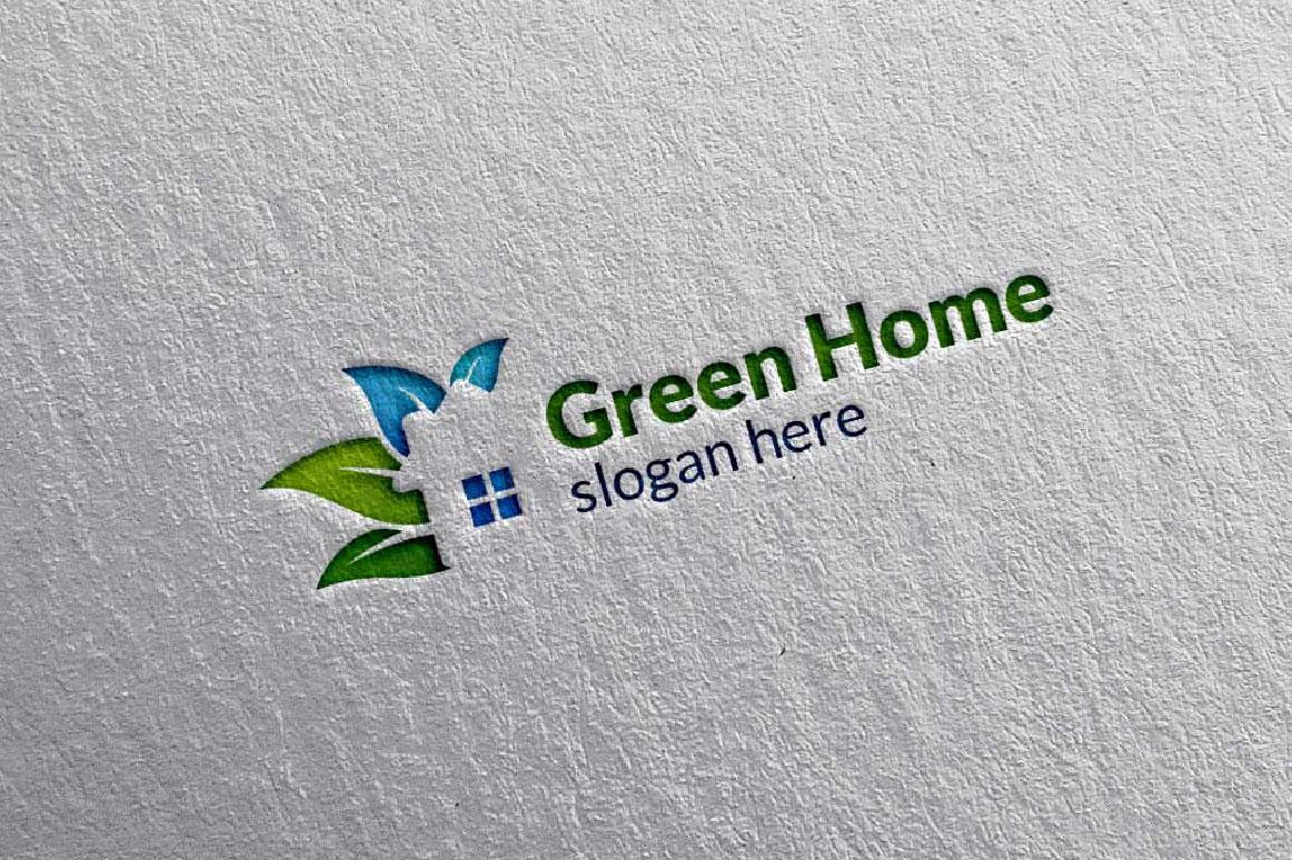 Real estate Logo, Green Home Logo 5 example image 2