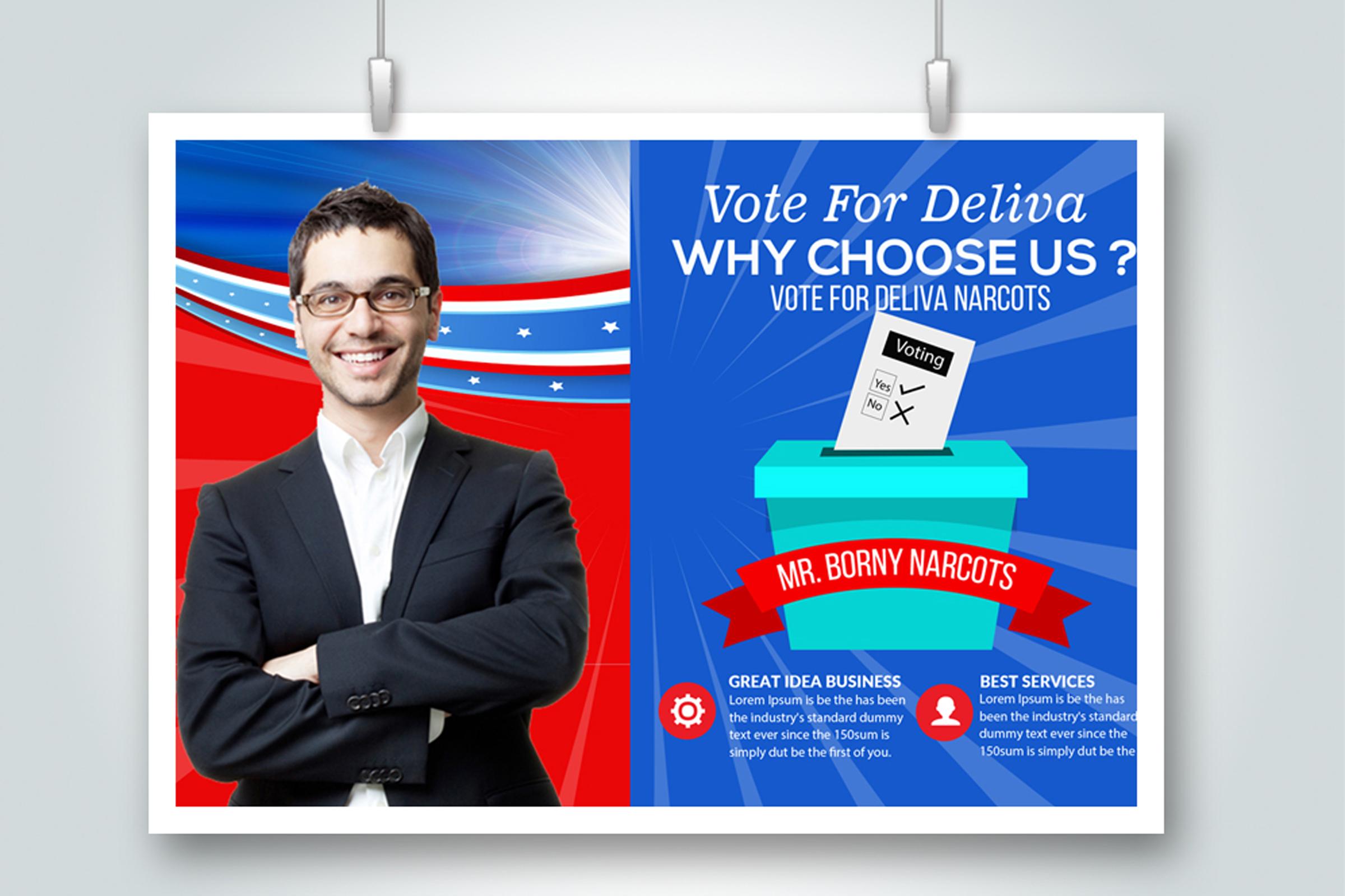 4 Horizontal Election Voting Flyers Bundle example image 3