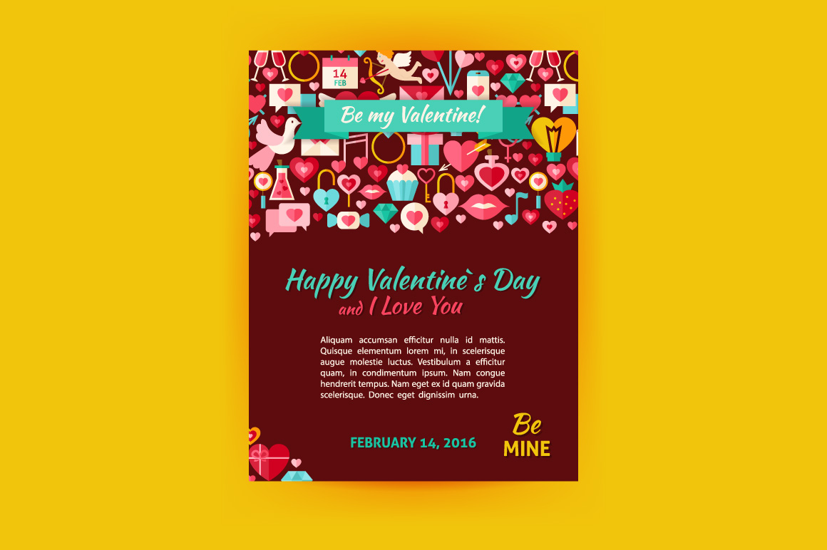 Valentine Day Vector Flat Posters example image 4