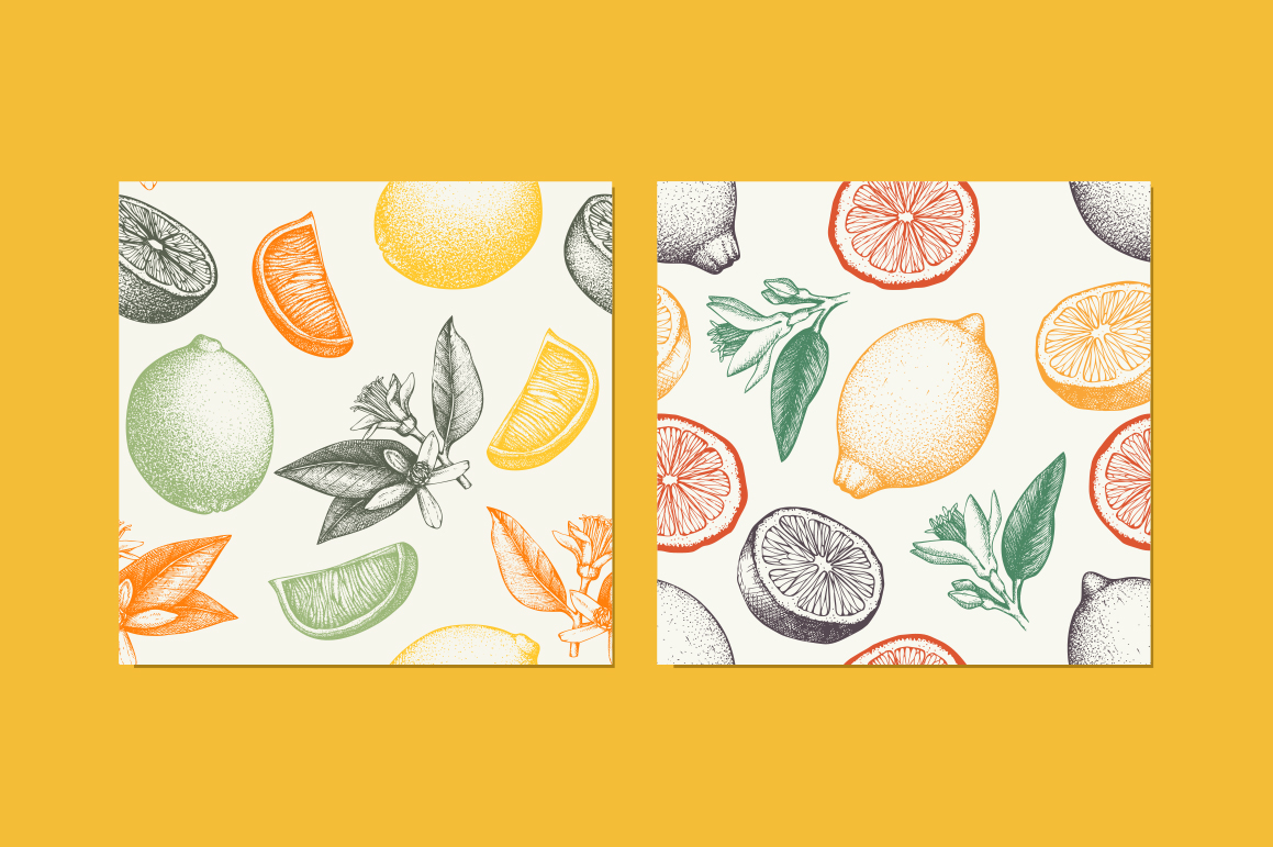 6 Seamless Citrus Fruits Pattern example image 2