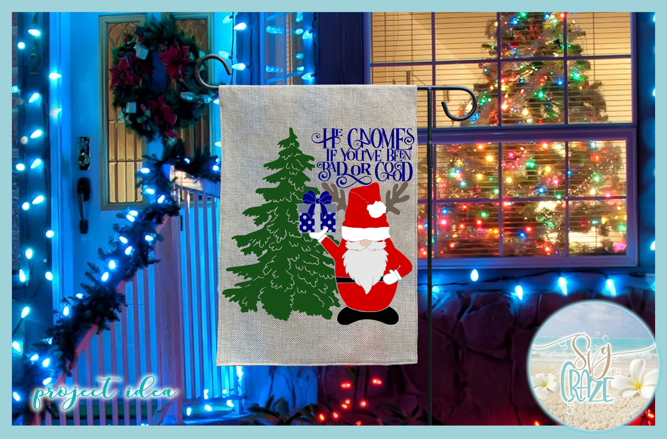 He Gnomes If Youve Been Bad Or Good Quote Santa Gnome SVG example image 2