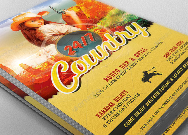 Country Bar Grill Flyer Template example image 2
