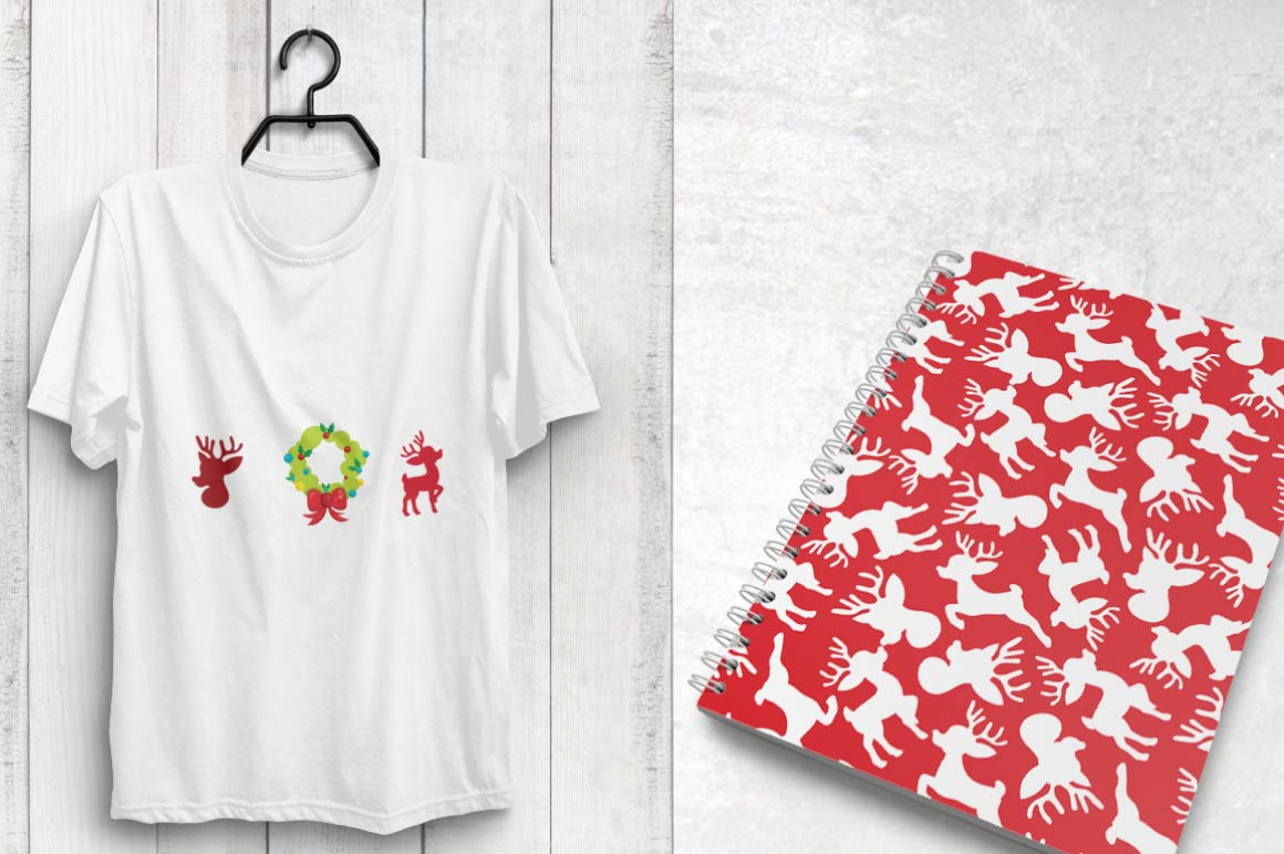 CHRISTMAS-SILHOUETTES , digital papers example image 4