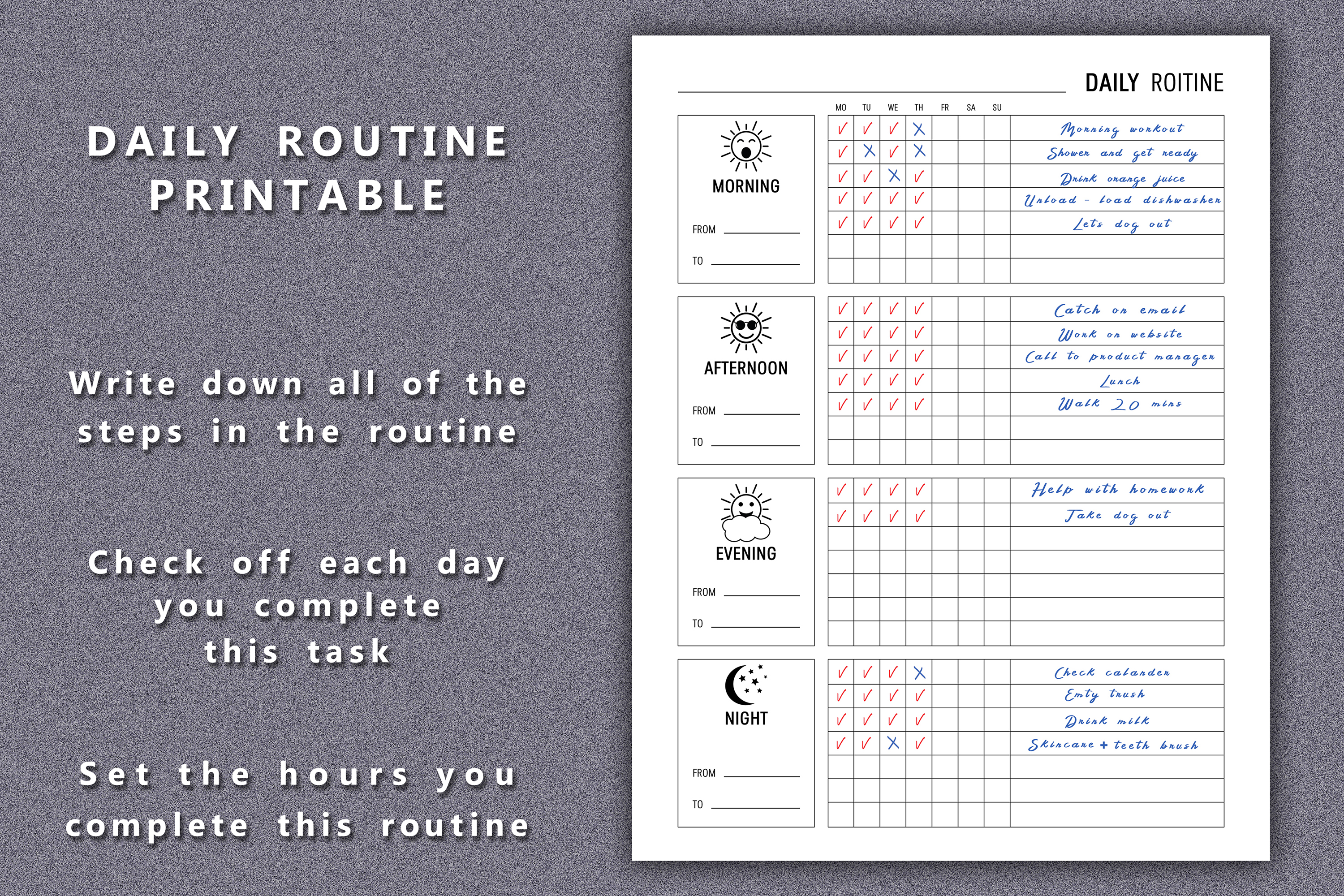 Daily Routine Planner Printable example image 4