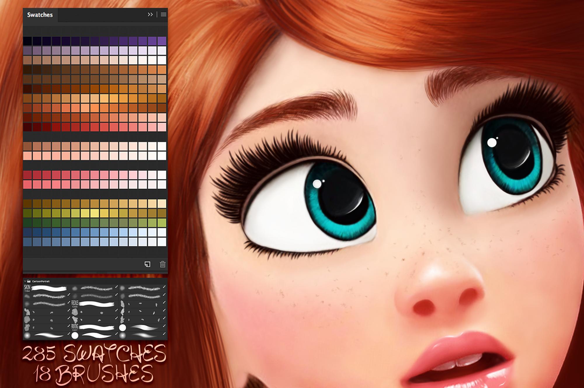 Cartoon Portrait Photoshop Brushes and Swatches set example image 2