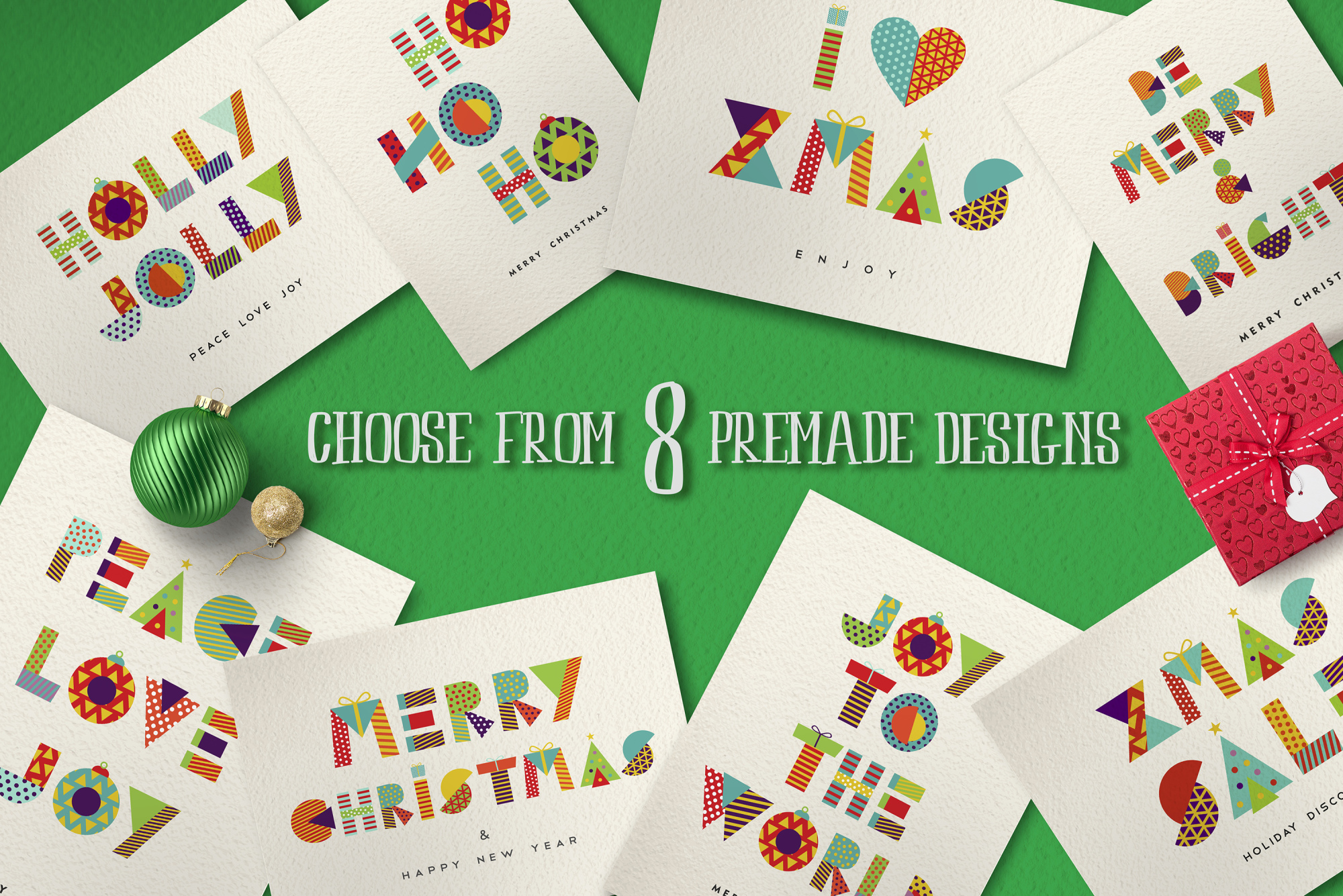 Christmas Geometric typeset + MORE - 90% OFF!  example image 4