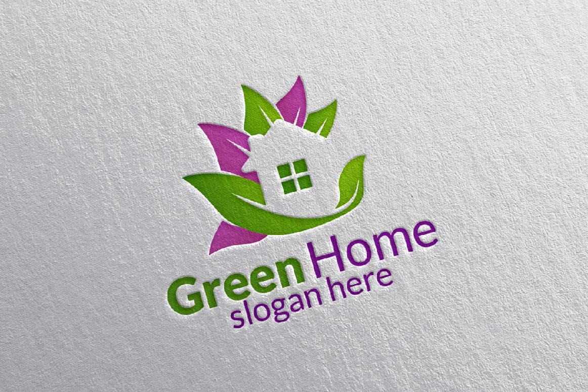Real estate Logo, Green Home Logo 25 example image 2
