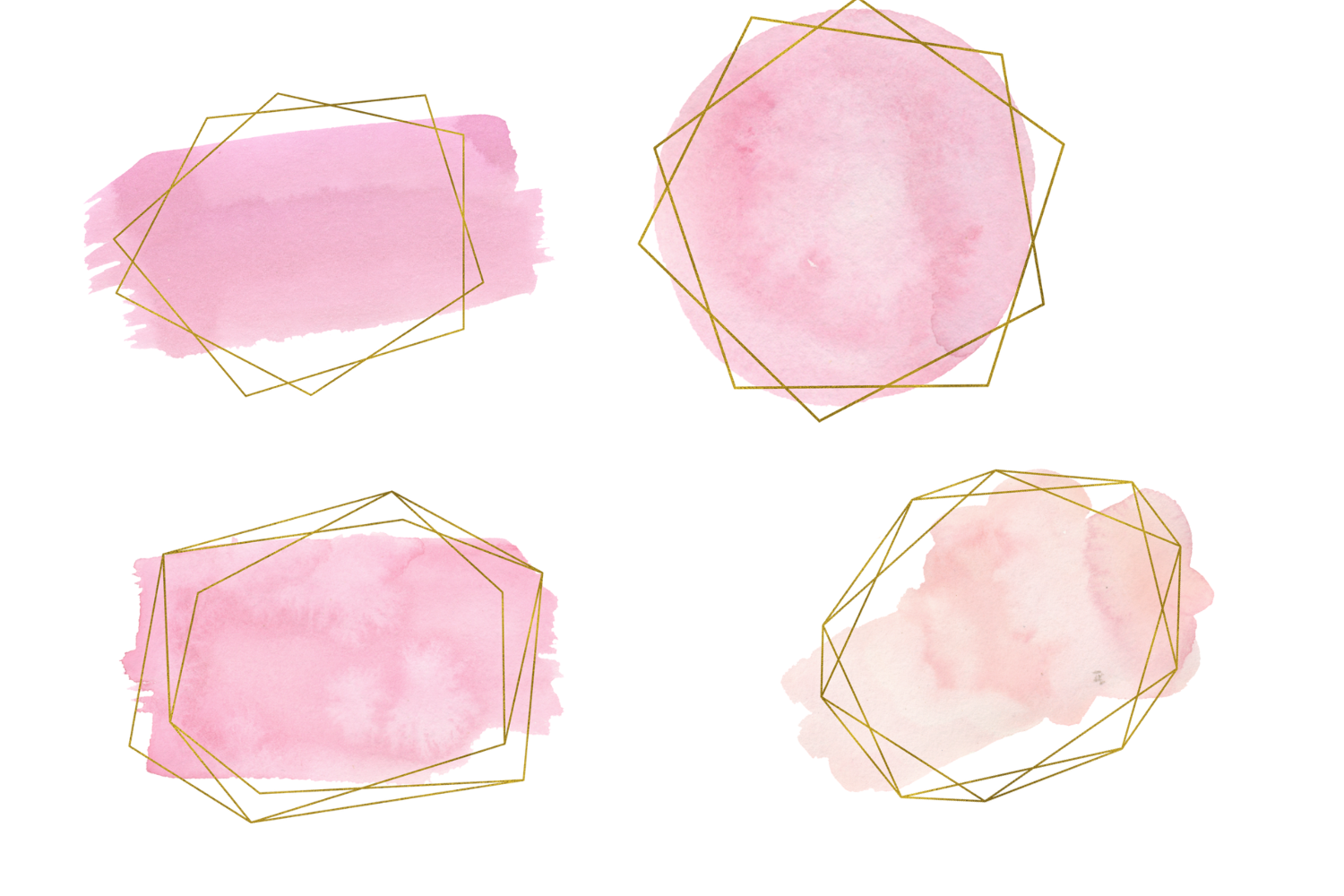 Pink and gold frames clip art, Watercolor design elements example image 4