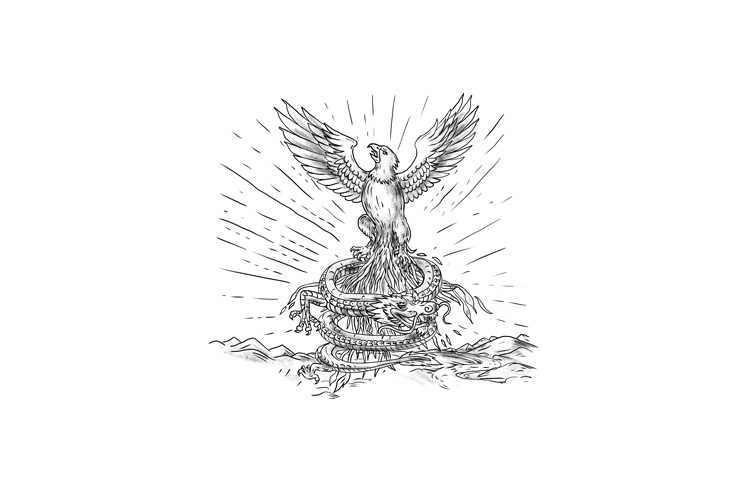 Eagle Rising Like Phoenix and Dragon Tattoo example image 1