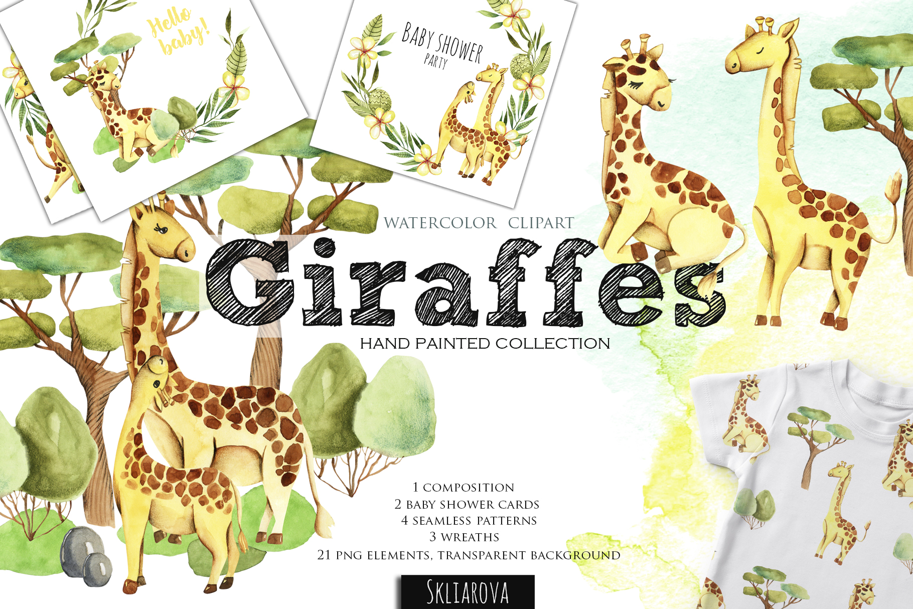 Giraffes. Watercolor clipart. example image 1