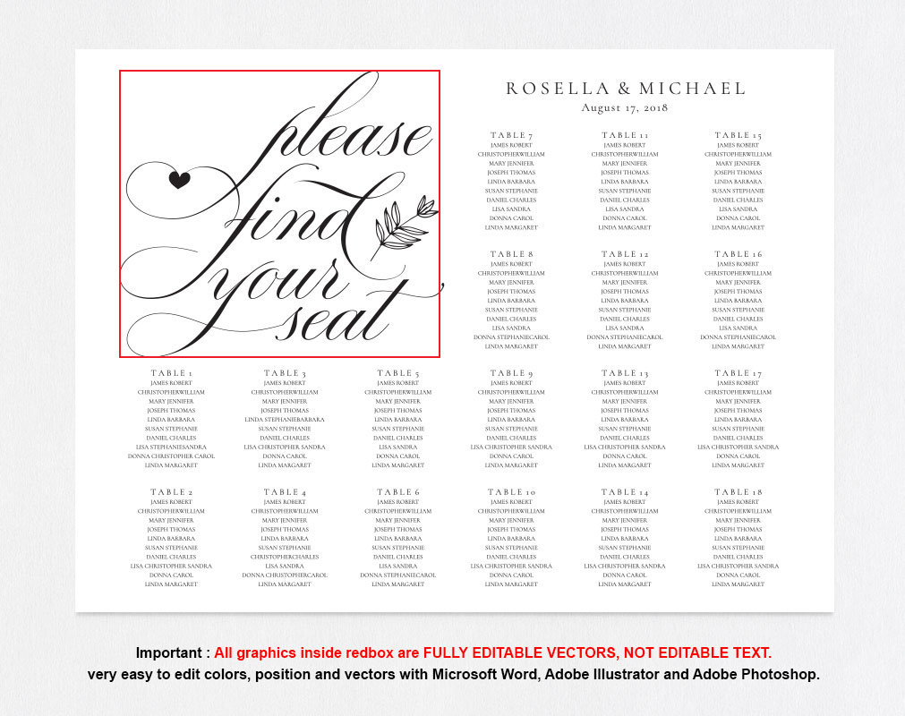 wedding seating chart sign, TOS_11 example image 5